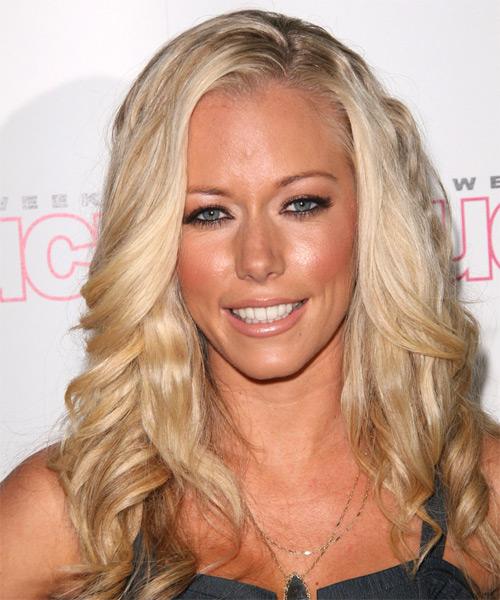 Kendra Wilkinson Long Wavy Hairstyle - Light Blonde (Platinum)