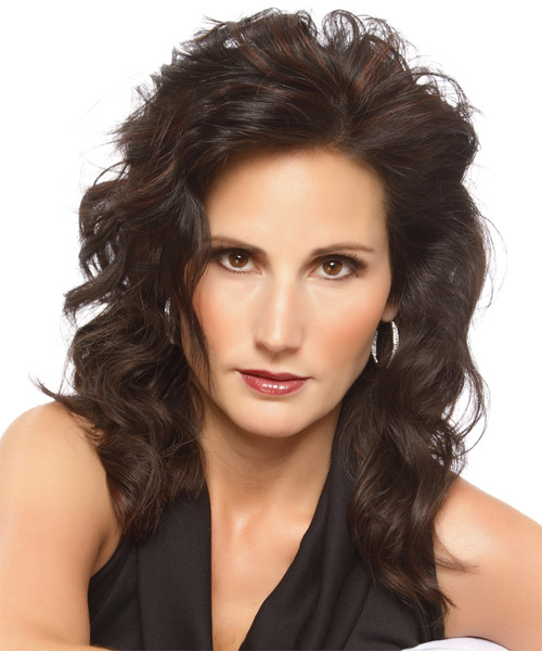 Medium Wavy Formal Hairstyle - Dark Brunette Hair Color