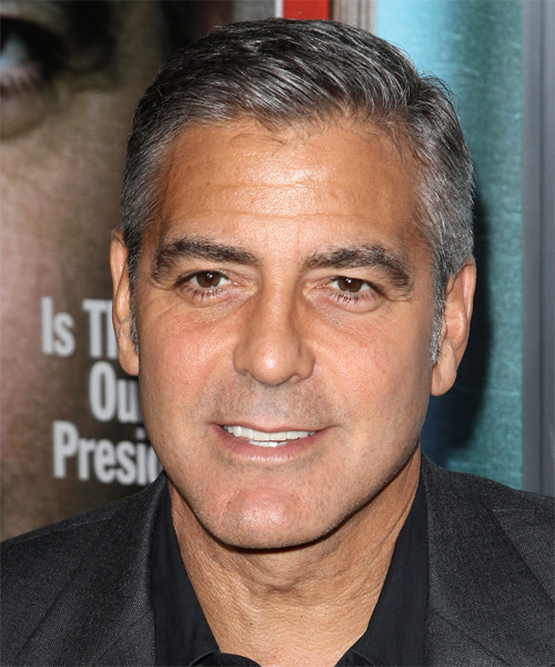 George Clooney Short Straight Hairstyle - Medium Grey (Salt and Pepper)