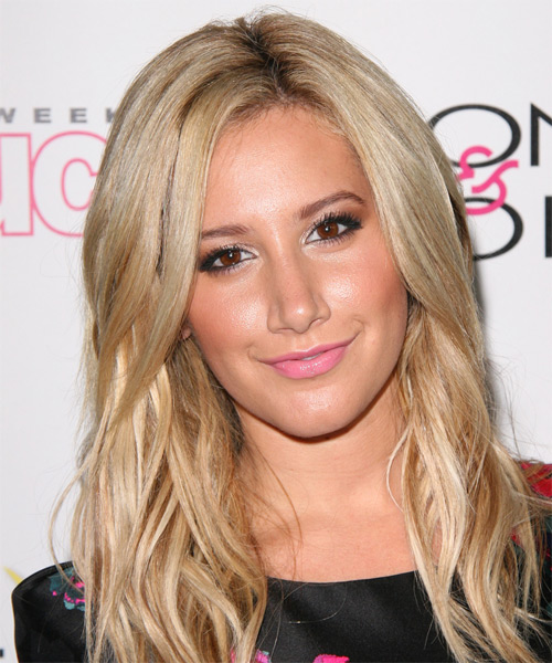 Ashley Tisdale Long Straight Casual Hairstyle - Light Blonde (Champagne) Hair Color
