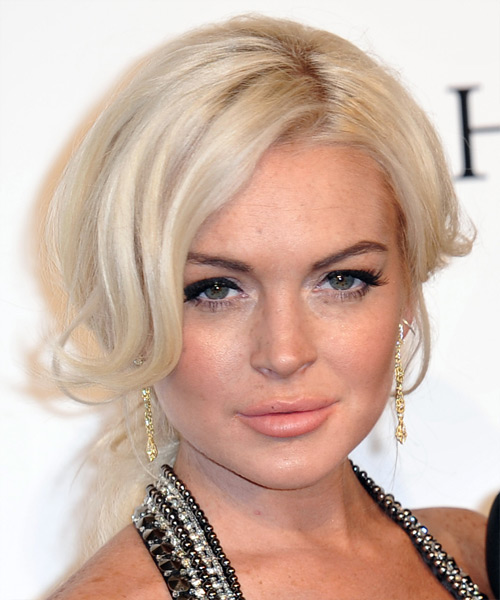 Lindsay Lohan Straight Casual Updo Hairstyle Light