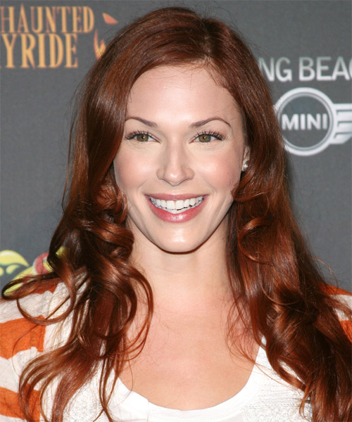 Amanda Righetti Long Wavy Casual Hairstyle - Medium Brunette (Auburn) Hair Color