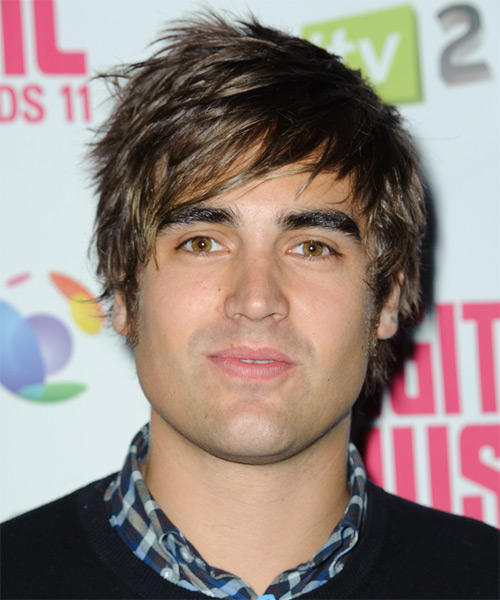 Charlie Simpson Short Straight Casual Hairstyle with Side Swept Bangs - Medium Brunette Hair Color