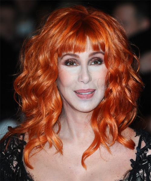 Cher Long Wavy Alternative Hairstyle with Blunt Cut Bangs - Orange Hair Color