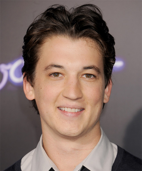 Miles Teller Short Straight Casual Hairstyle - Dark Brunette Hair Color