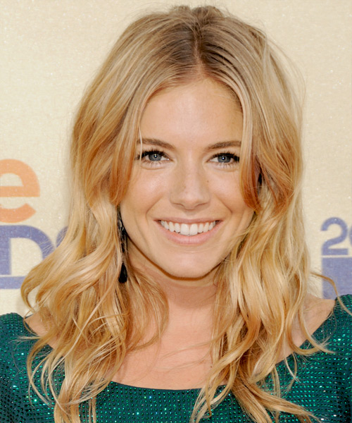 Sienna Miller Long Wavy Hairstyle - Medium Blonde (Golden)