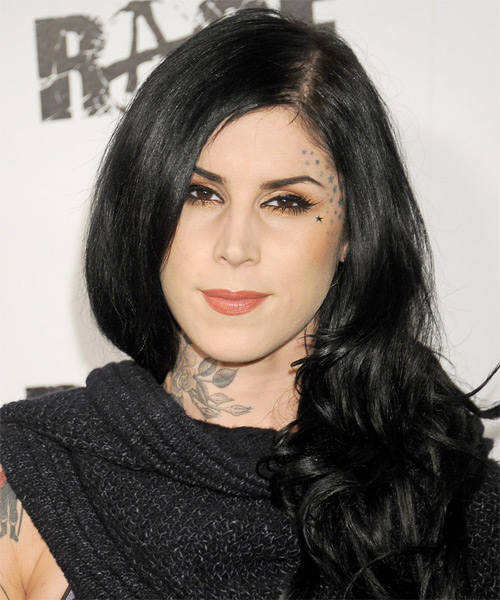 Kat Von D Long Wavy Formal Hairstyle - Black