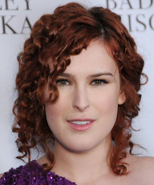 Rumer Willis Updo Medium Curly Casual Half Up Hairstyle - Dark Red Hair Color