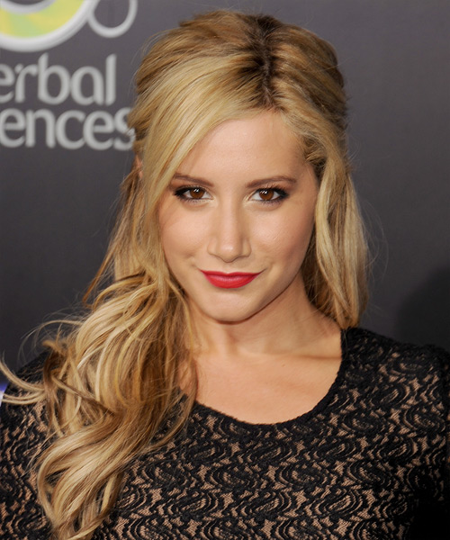 Ashley Tisdale Half Up Long Curly Hairstyle - Dark Blonde (Golden)