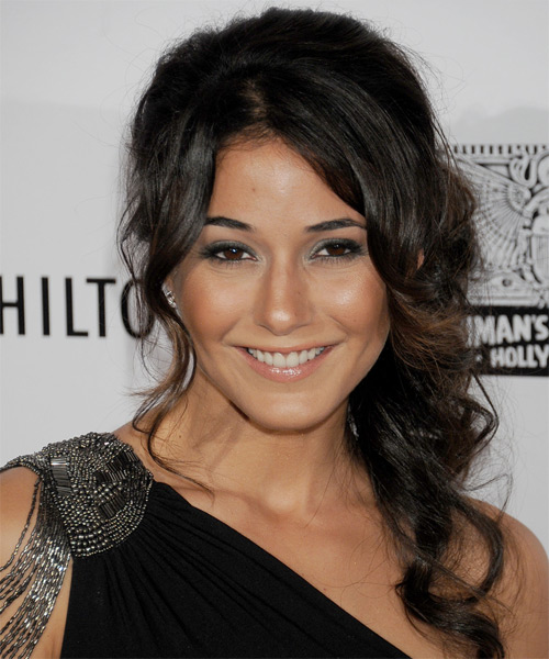 Emmanuelle Chriqui Curly Formal Updo Hairstyle - Dark Brunette Hair Color