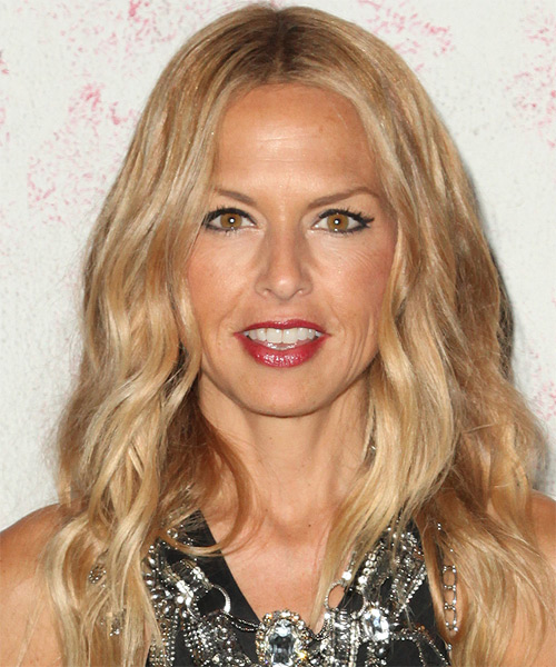 Rachel Zoe Long Wavy Casual Hairstyle - Medium Blonde (Golden) Hair Color