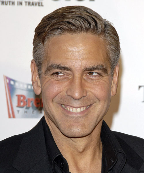 George Clooney Short Straight Hairstyle - Medium Brunette