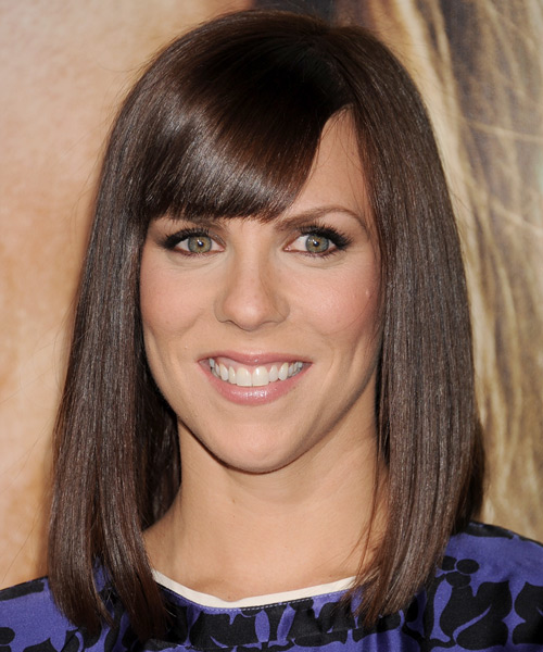 Sarah Burns Medium Straight Formal Hairstyle with Blunt Cut Bangs - Dark Brunette (Mocha) Hair Color