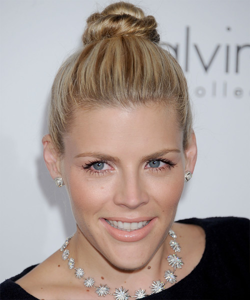 Busy Philipps Updo hairstyle with Tidy Top Knot
