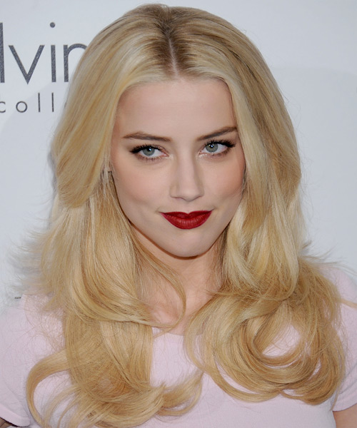 Amber Heard Long Straight Formal Hairstyle - Light Blonde (Golden) Hair Color