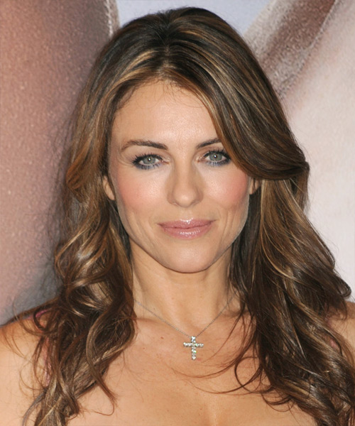 Elizabeth Hurley Long Wavy Hairstyle - Medium Brunette (Chestnut)