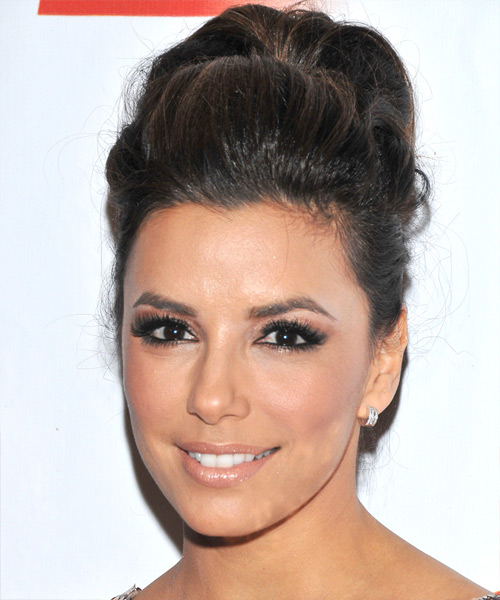 Eva Longoria Parker Formal Curly Updo Hairstyle (Mocha)