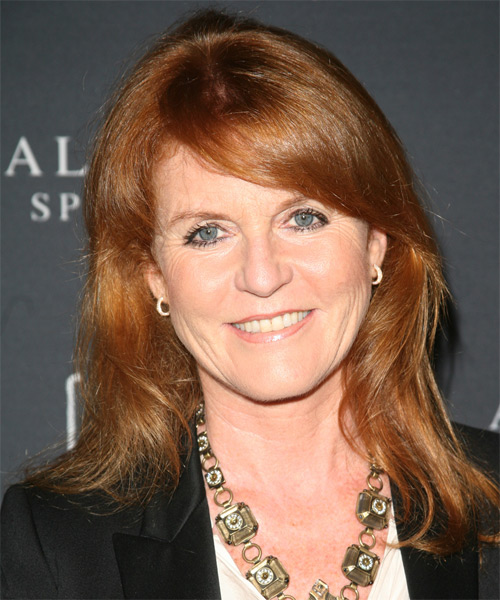 Sarah Ferguson Long Straight Casual Hairstyle with Side Swept Bangs - Medium Brunette (Copper) Hair Color