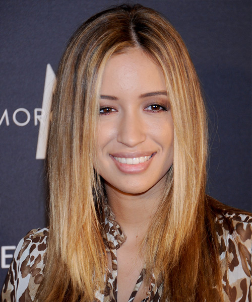 Christian Serratos Long Straight Casual Hairstyle - Medium Brunette (Caramel) Hair Color