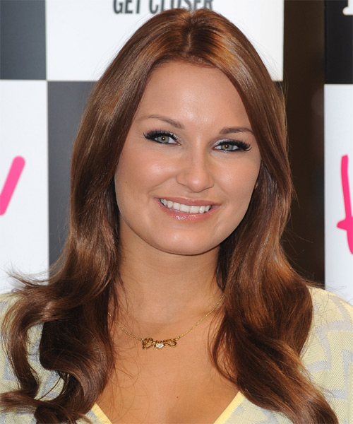 Samantha Faiers  Long Wavy Hairstyle - Medium Brunette (Chestnut)