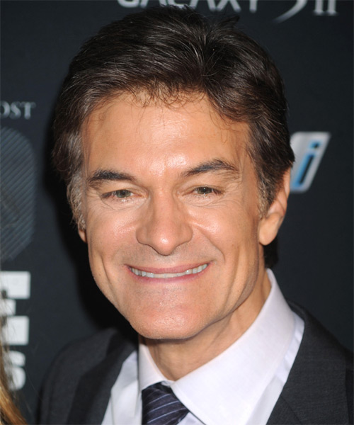 Mehmet Oz  Short Straight Formal Hairstyle - Dark Brunette (Grey) Hair Color