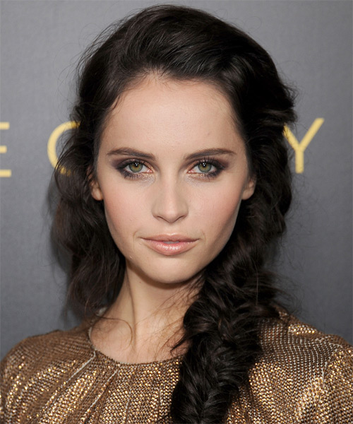Felicity Jones Casual Curly Updo Braided Hairstyle - Dark Brunette