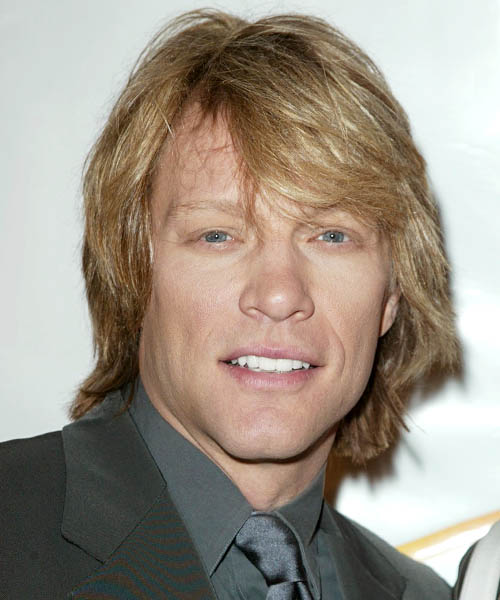 Jon Bon Jovi Medium Straight Hairstyle - Dark Blonde