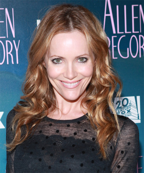 Leslie Mann Long Wavy Hairstyle - Dark Blonde (Copper)