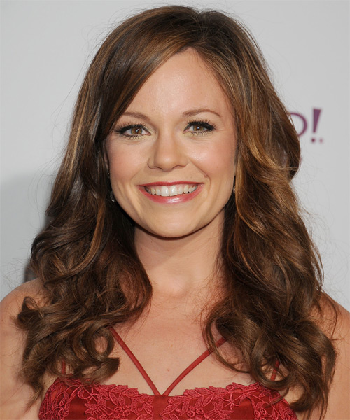 Rachel Boston Long Wavy Formal Hairstyle - Medium Brunette (Chestnut) Hair Color