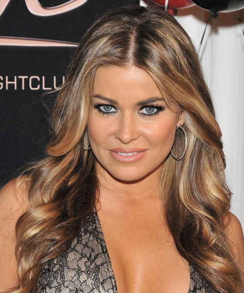 Carmen Electra Long Wavy Hairstyle - Light Brunette (Caramel)