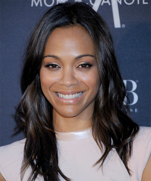 Zoe Saldana Long Straight Casual Hairstyle - Dark Brunette Hair Color