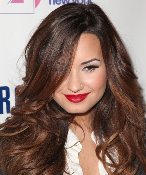 Demi Lovato Long Wavy Hairstyle - Dark Brunette (Auburn)
