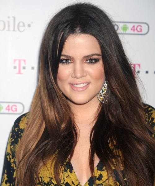 Khloe Kardashian Long Straight Casual Hairstyle - Dark Brunette (Mocha) Hair Color