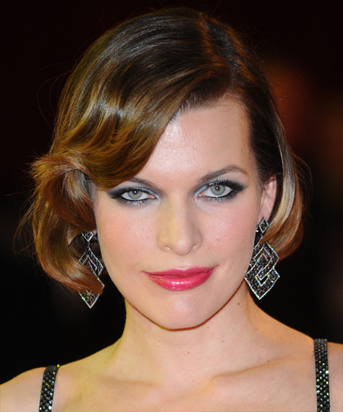 Milla Jovovich Short Straight Formal Hairstyle with Side Swept Bangs - Medium Brunette Hair Color