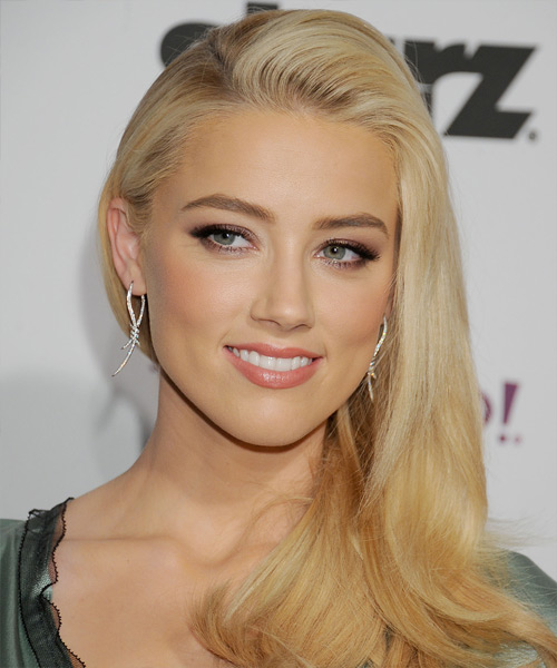 Amber Heard Long Straight Hairstyle - Light Blonde