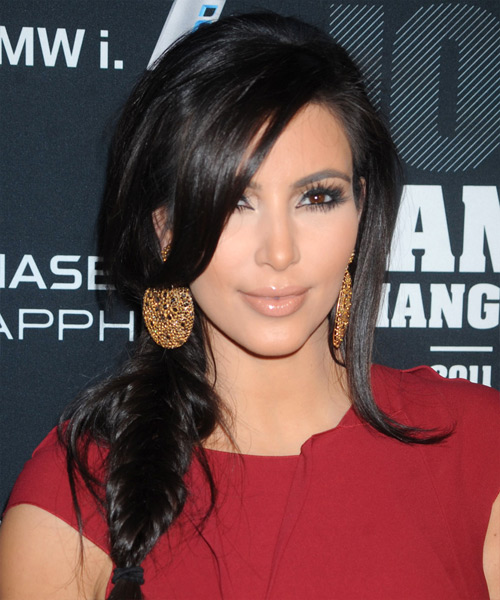 Kim Kardashian Curly Casual Half Up Braided Hairstyle - Black Hair Color