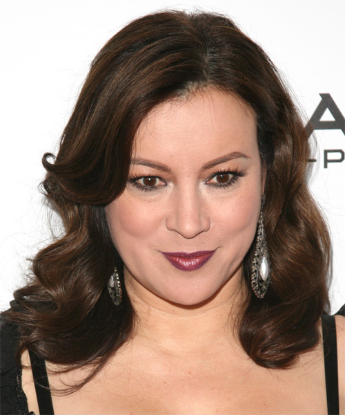 Jennifer Tilly  Medium Wavy Formal  - Dark Brunette (Mocha)