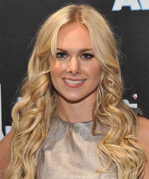 Laura Bell Bundy Long Wavy Hairstyle - Medium Blonde (Champagne)