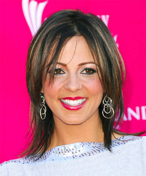 Sara Evans Medium Straight hairstyle with middle part
