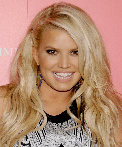 Jessica Simpson Long Straight Casual Hairstyle - Light Blonde (Golden) Hair Color