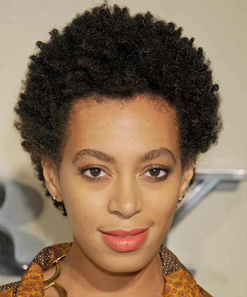 Solange Knowles Short Curly Casual Afro Hairstyle - Black Hair Color