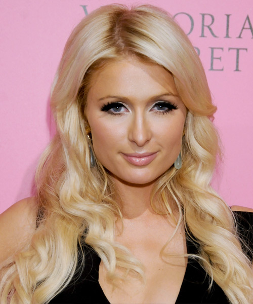 Paris Hilton Long Wavy Casual Hairstyle - Light Blonde (Honey) Hair Color