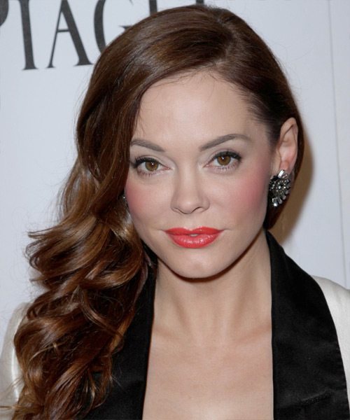 Rose McGowan Long Wavy Formal Hairstyle - Medium Brunette (Chocolate) Hair Color