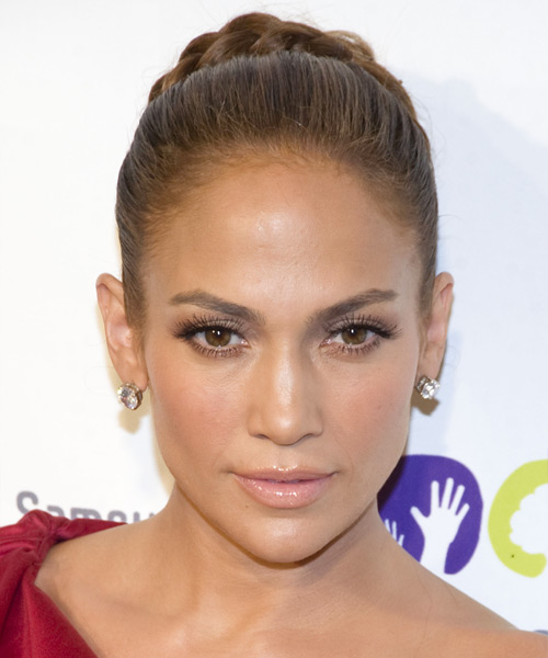 Jennifer Lopez Formal Curly Updo Braided Hairstyle - Light Brunette