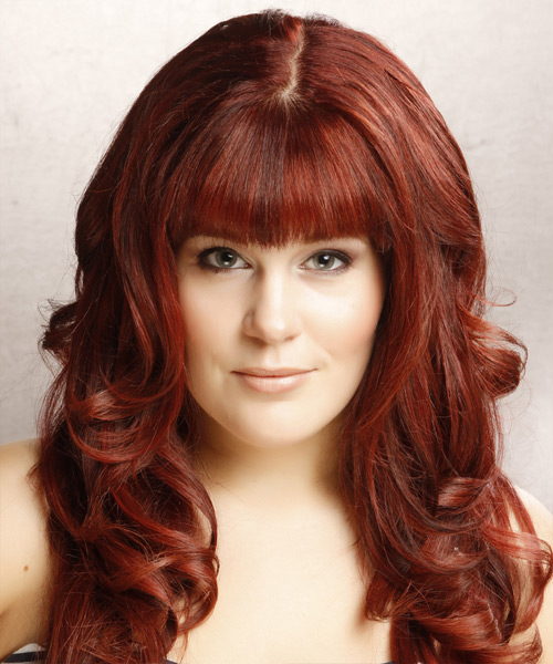 Long Wavy Formal Hairstyle with Blunt Cut Bangs - Dark Red (Bright) Hair Color