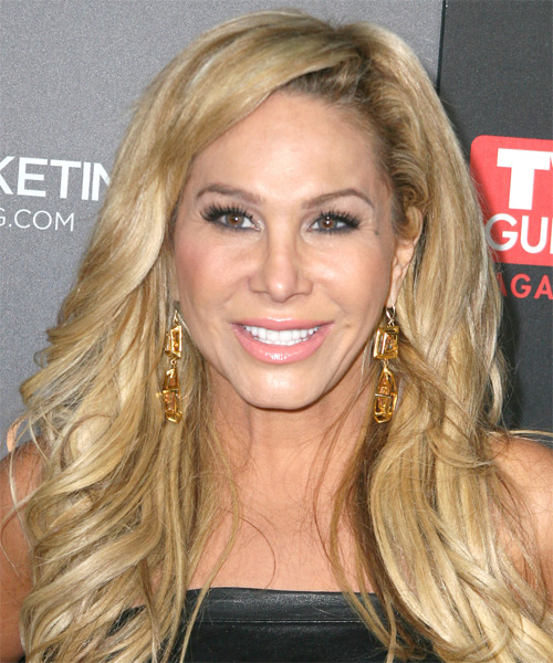 Adrienne Maloof Long Wavy Casual Hairstyle - Medium Blonde Hair Color