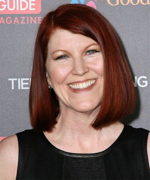 Kate Flannery Medium Straight Bob Hairstyle - Dark Red