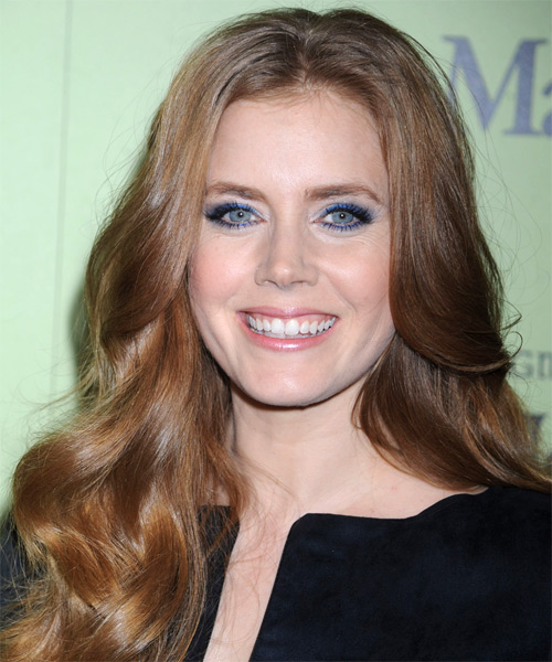 Amy Adams Long Wavy Formal Hairstyle - Medium Brunette (Auburn) Hair Color