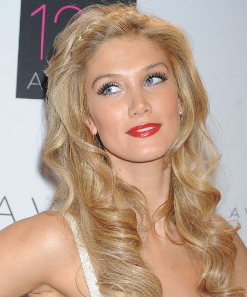 Delta Goodrem Long Wavy Formal Hairstyle - Medium Blonde (Golden) Hair Color