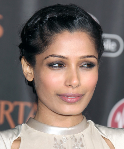 Freido Pinto Curly Formal Updo Braided Hairstyle - Black Hair Color